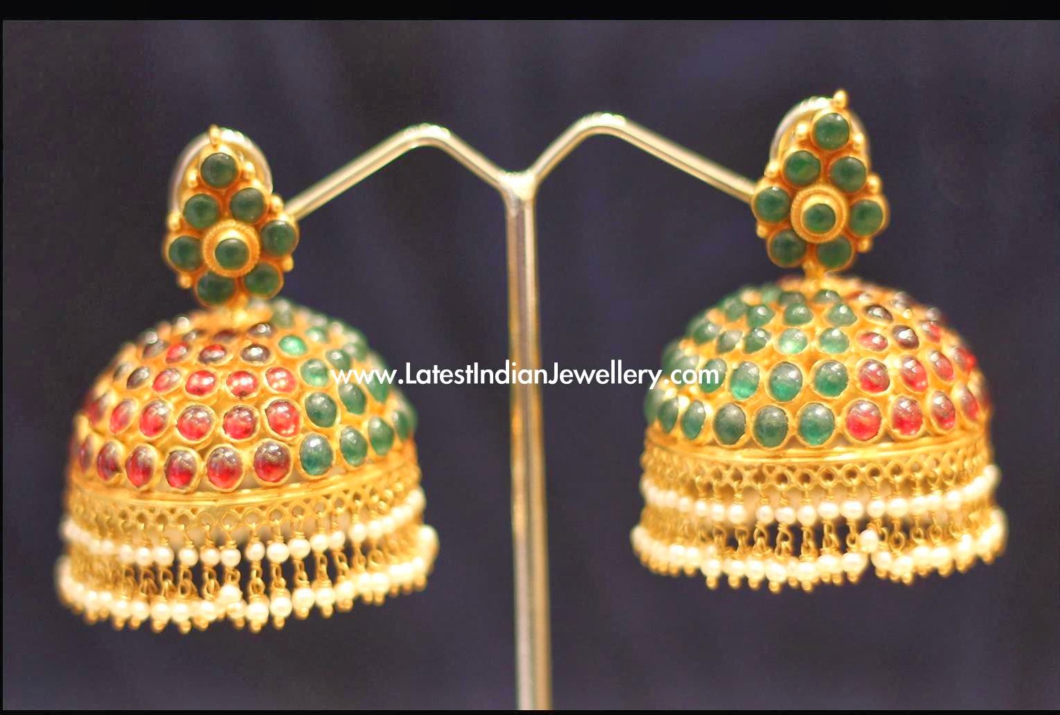 Reversible Ruby Emerald Jhumkis