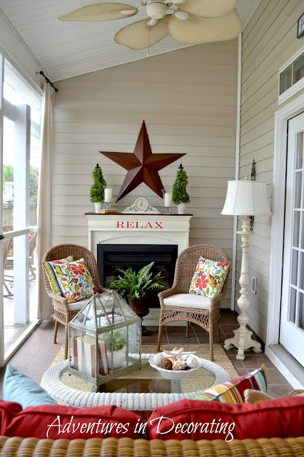 Adventures in decorating our summer porch and fun in the sun Screened in porch decor