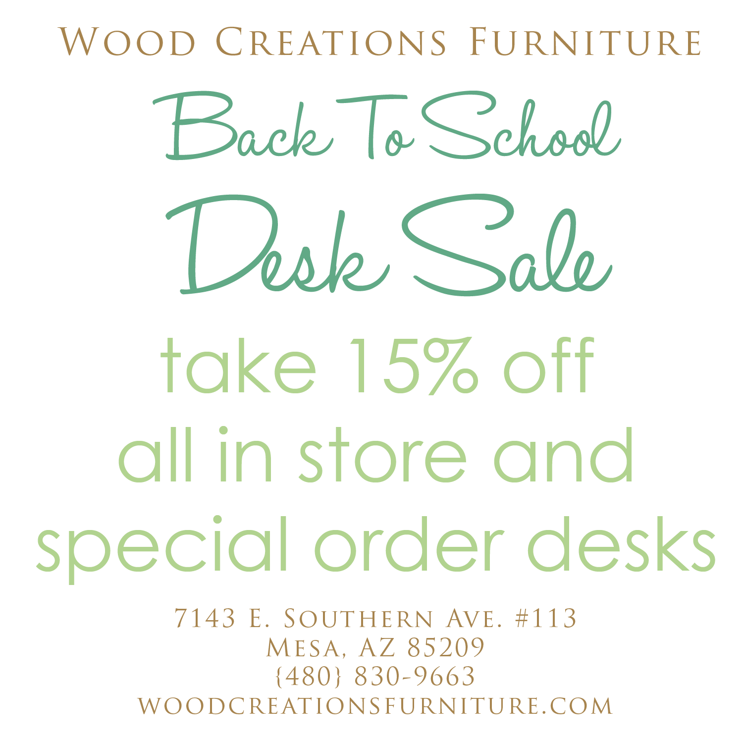 Wood Creations Furniture: Announcing Our Back To School Desk Sale