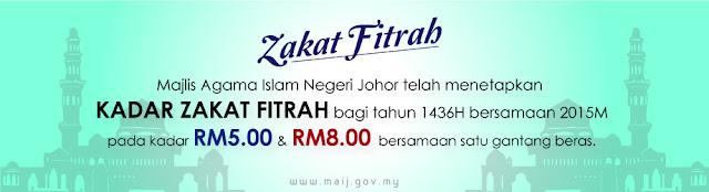Kadar Zakat Fitrah 2015 / 1436 Bagi Negeri Johor