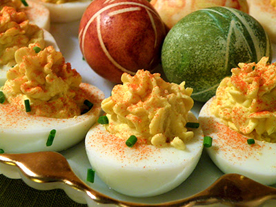 Deviled Eggs and Easter Eggs on Platter