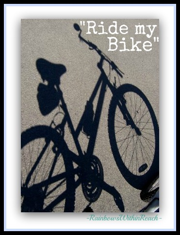 "photo of: ""Ride my Bike"" Bicycle Shadow on Pavement Photograph"