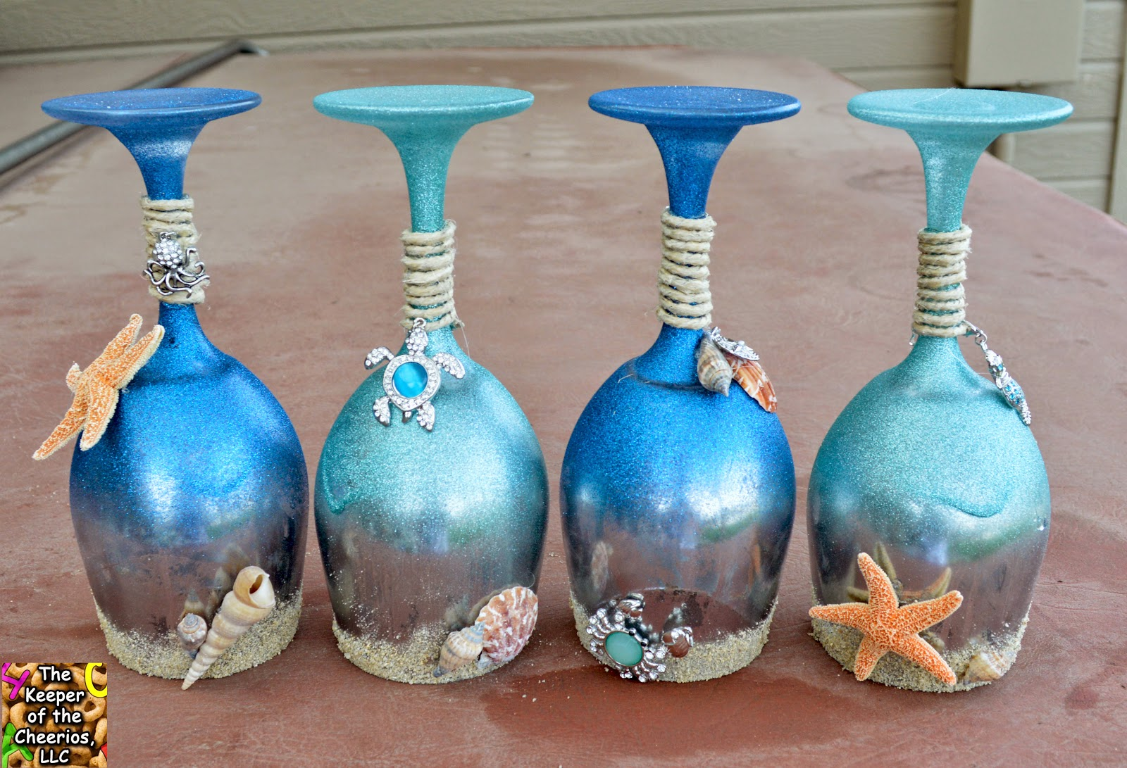 Summer and sea wine glasses candle holders for Beach wine glass candle holders