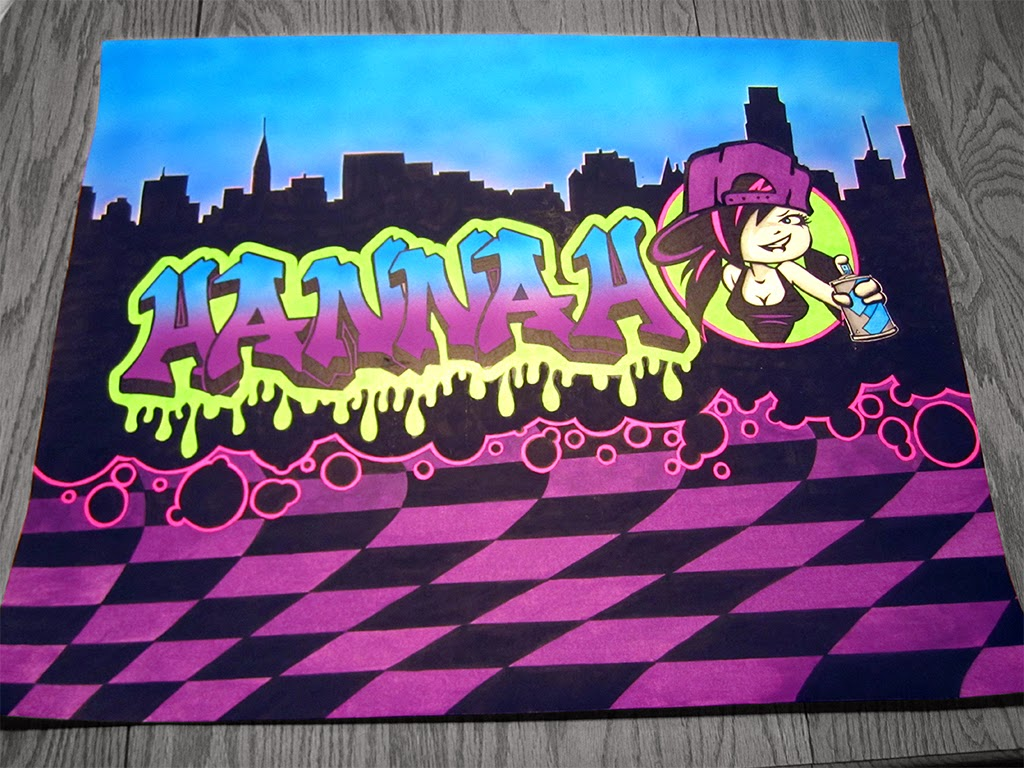 Painting of a skyline and a tag