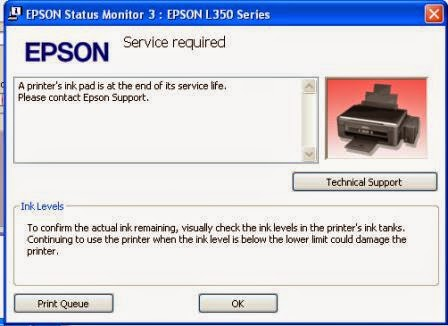 A printer's ink pad is at the end of its service life. Please contact Epson Support""