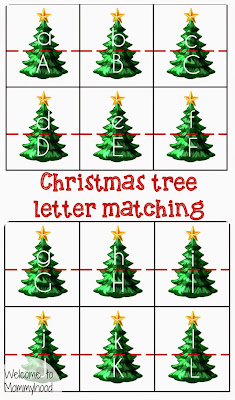 Christmas activities for kids: Christmas tree letter matching printable {Welcome to Mommyhood} #montessori, #freeprintables, #ChristmasActivitiesForKids
