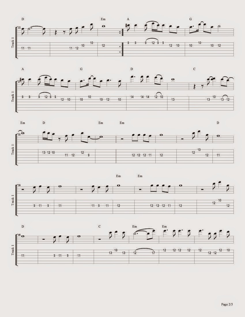 2 Eastern Blues ``When will we have met somewhere'' Sheet Music for Guitar, Tablature and Tabs for guitar
