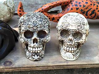 Intricately carved skulls.