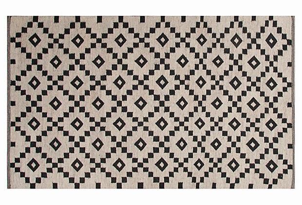Flat weave Black & Ivory rug