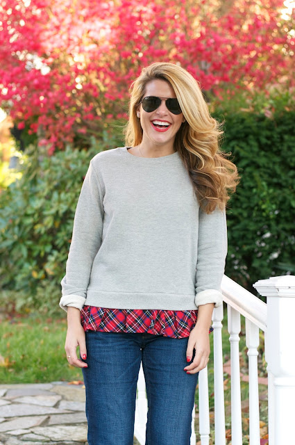 Plaid ruffled sweatshirt