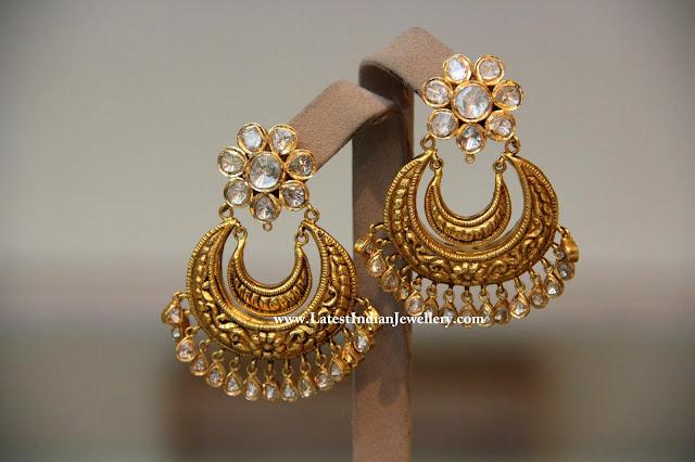 Gold Chand Bali Earrings