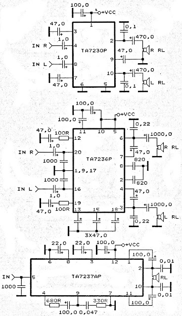 TA7230P, TA7236P, TA7237AP amplifier schematic