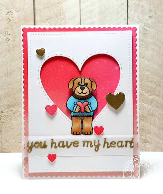 Sunny Studio You Have My Heart Valentine's Day Card by Heidi Criswell (using Stitched Heart Dies, Sweet Script & Sending My Love Stamps).