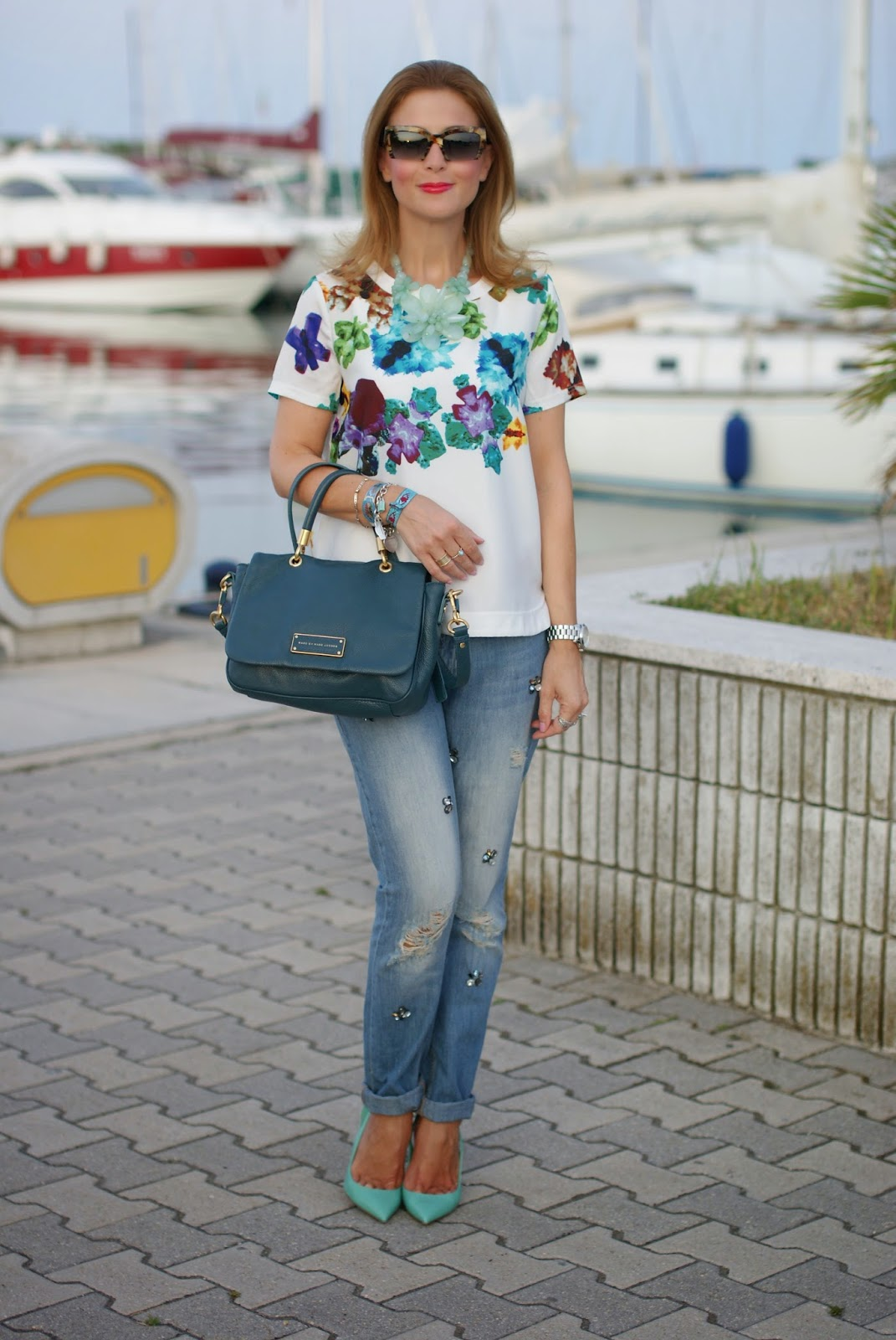 blackfive floral blouse, jeweled boyfriend jeans, miu miu rasoir sunnies, le silla tiffany pumps, Fashion and Cookies, fashion blogger