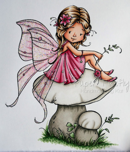 Pink CAS card featuring fairy on a mushroom (image from Sugar Nellie)