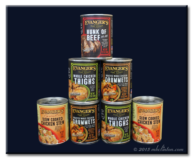 Stacked cans of Evanger's Dog Food