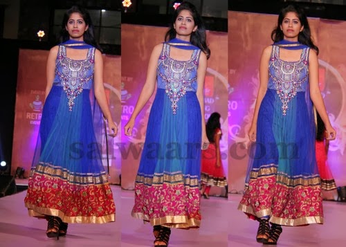 Blue and Red Floor Length Salwar
