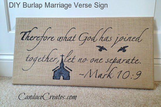 DIY Burlap Marriage Verse Sign @ Candace Creates