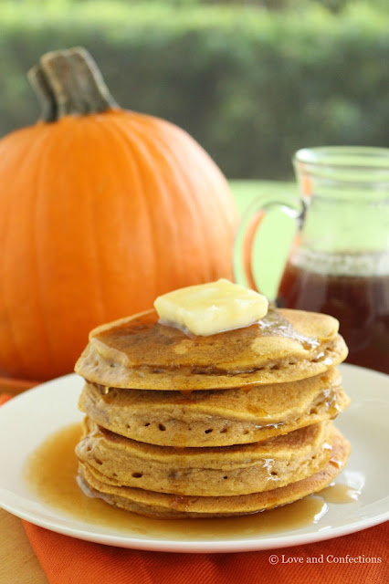 Pumpkin Pancakes with Bourbon Maple Syrup from LoveandConfections.com #PumpkinWeek