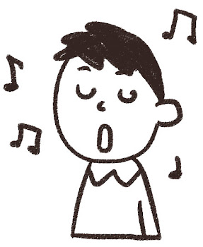 歌をうたう男の子のイラスト(合唱) 白黒線画