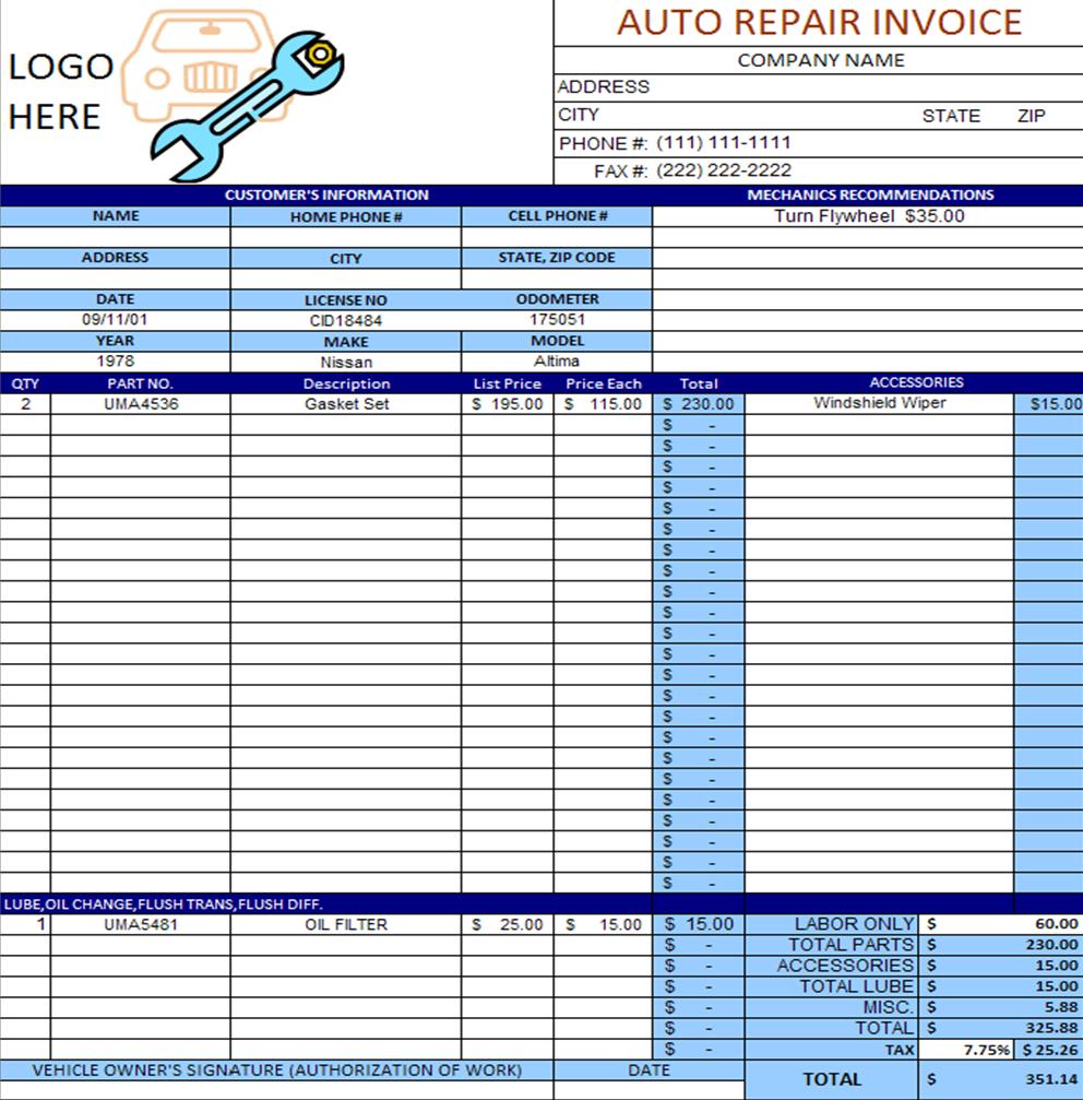 repair orders template