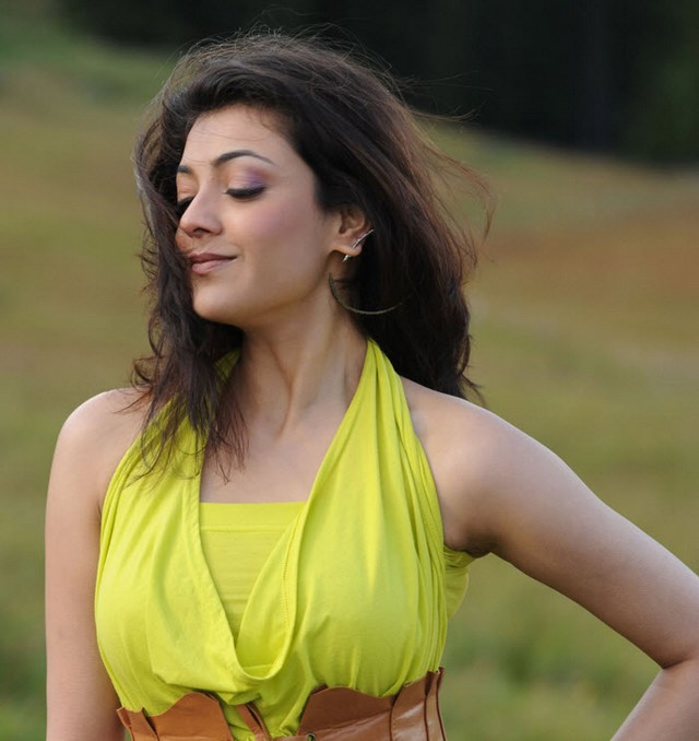 Hot and sexy kajal aggarwal in yellow dress