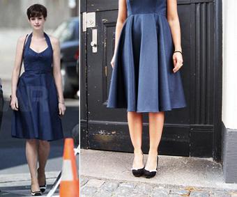 50'er kjole hvide sort blå Hunch sko og EXq5wqT