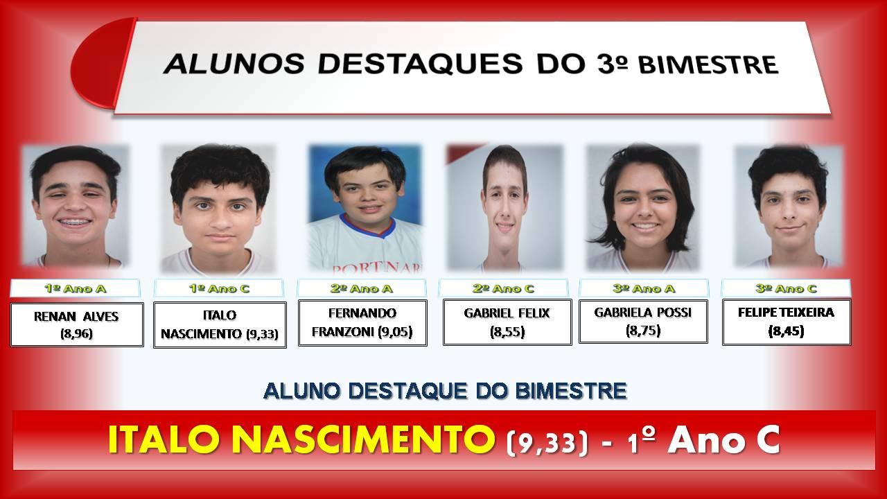 ALUNOS DESTAQUE DO BIMESTRE