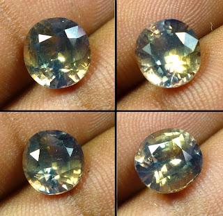 biicolor sapphire srilanka warna kuning dan biru