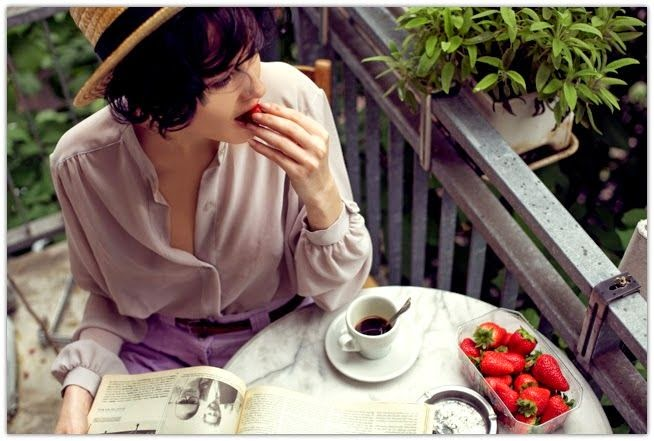 Breakfast in Paris, coffee and strawberry