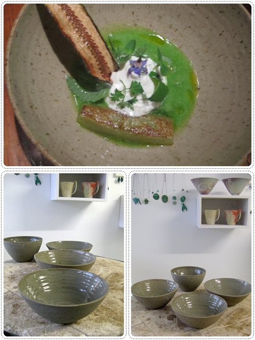 Costum made recycled stoneware bowls for Restaurant Eendracht
