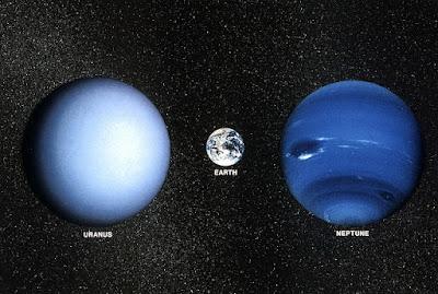 comparación de tamaños entre urano, neptuno y la tierra