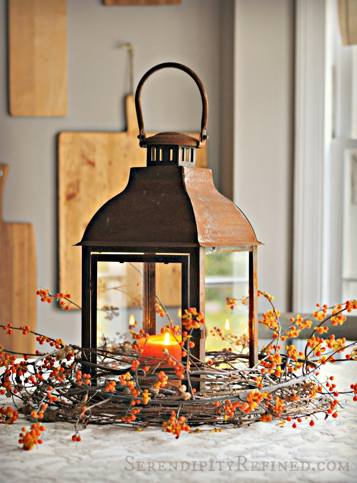 Serendipity refined rusty lantern and bittersweet