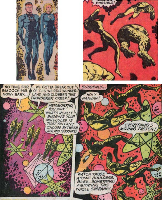 Jack Kirby's figures of Fantastic Four members floating in a dream dimension; Sal Trapani's swipes with Metamorpho and Element Girl floating in a sub-atomic world