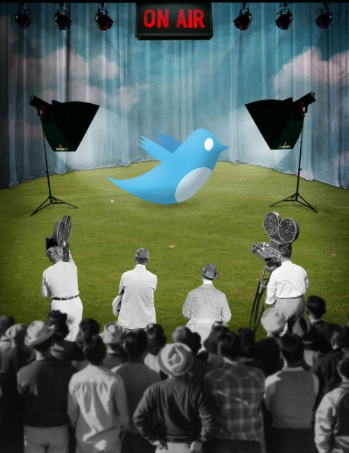 Joseba Elorza MiraRuido illustrations collages surreal vintage Hollywood Reporter magazine about Twitter