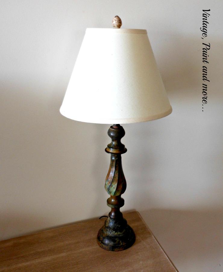 vintage brass lamp, patina, thrifted lamp, vintage Valentine vignette