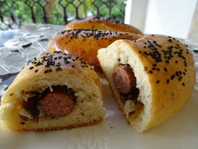 Sausage-stuffed buns