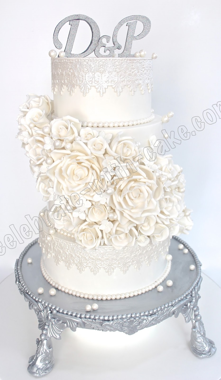 Celebrate with Cake!: Cascading White Roses Wedding Cake