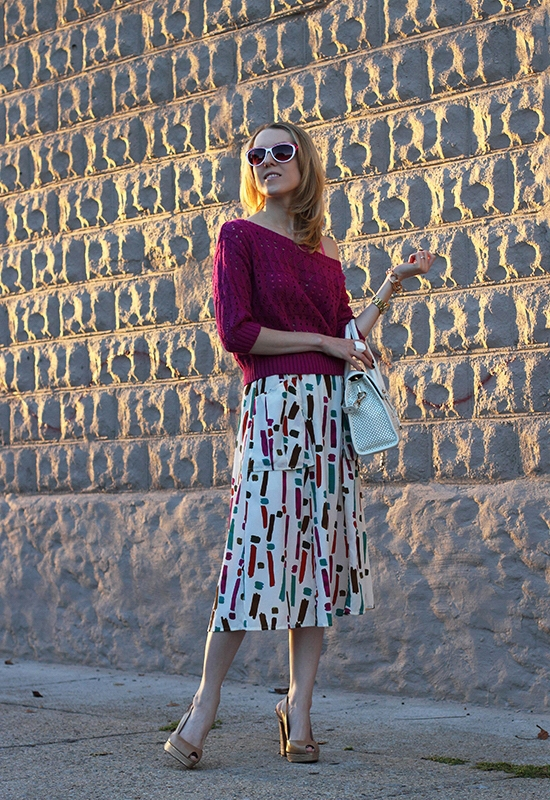 The Wind of Inspiration Blog - Fuchsia Knit Top And Abstract Print Skirt - Outfit of the Day Post (10.04.2012)