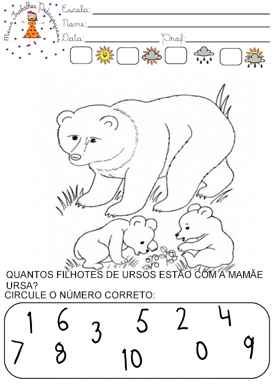 Preferência Meus Trabalhos Pedagógicos ®: Atividades dia das mães - números QH56
