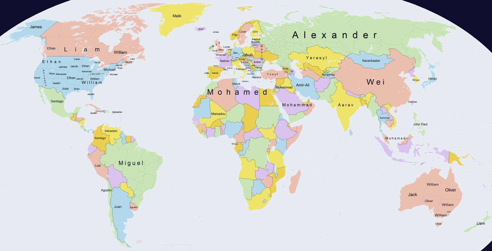 The most popular boys names around the World