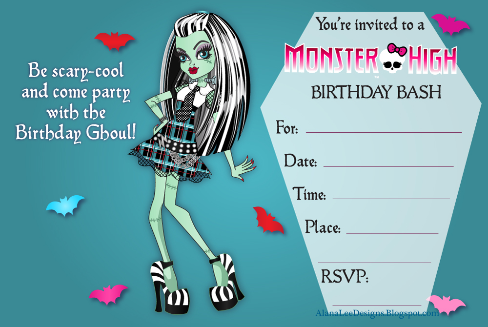 Lively image intended for free printable monster high invitations