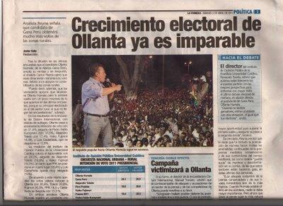 3-ABRIL-4-5-6-7-8-910...2011 -Ollanata Humala ya es PRESIDENTE del Peru en 1ra VUELTA.