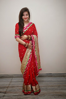 Priyal Gor Pictures in Red Saree at 'Saheba Sumanyam' Premiere Show