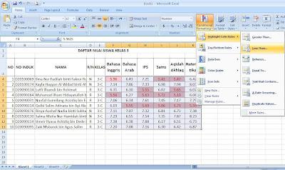 Cara mewarnai cell otomatis pada Excel