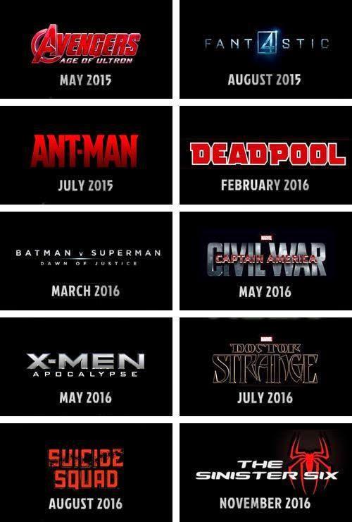 Senarai Filem Filem Akan Datang Keluaran Marvel