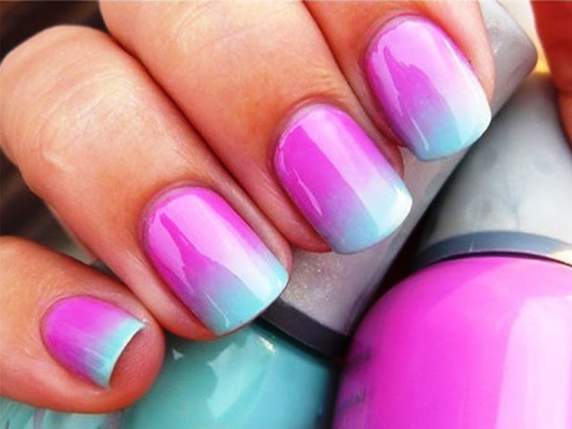 ombre nail art design, notd,summer nail art trend,simple nail art design