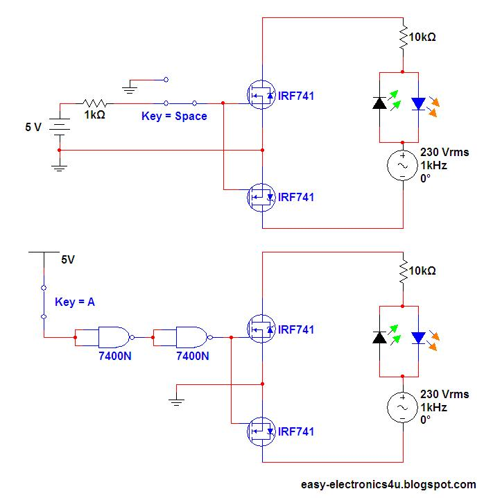 Switch Ac loads using Mosfet\'s (as relay) ~ Easy Electronics