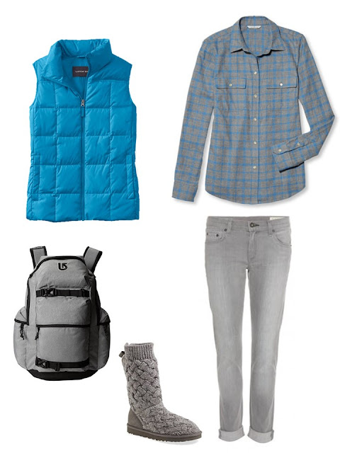 outfit with a bright blue down vest, plaid flannel shirt and grey jeans