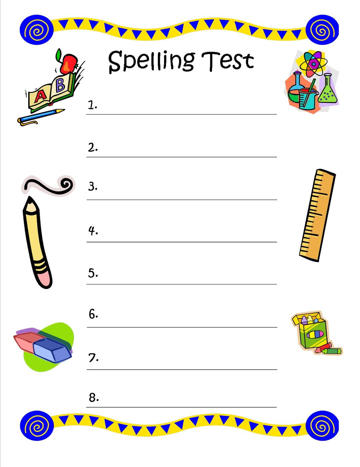 Test+Paper Bunch of Bishops: Spelling Test - FREE Printable
